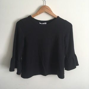 Amour Vert | Black Organic Bell Sleeve Top XS